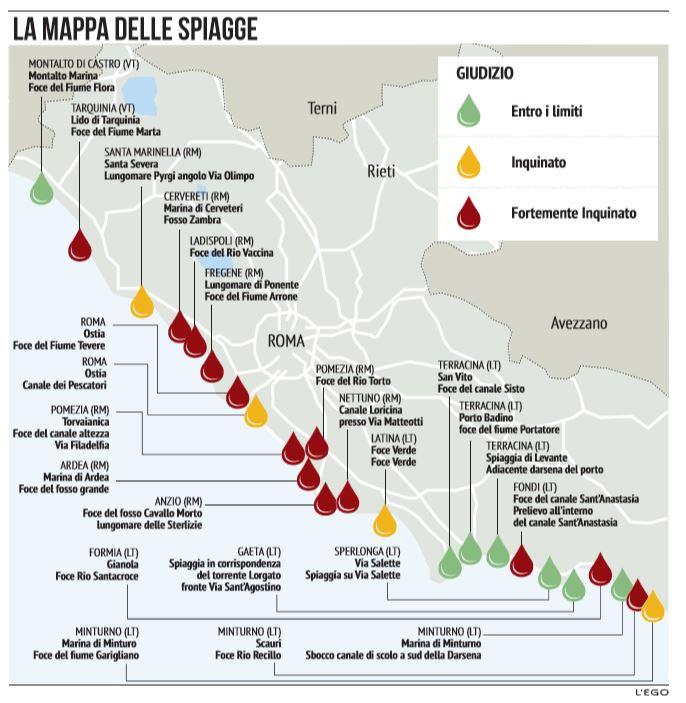 Cartina Mare Lazio.Spiagge Lazio Ecco La Mappa Con Le Aree Piu Inquinate