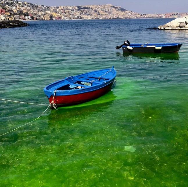 """Napoli, a Posillipo il mare si tinge di verde """"tossico"""""""