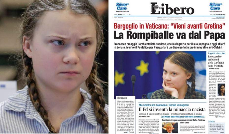 """Greta Thunberg """"Rompiballe dal Papa"""": l'insulto in prima pagina su Libero"""