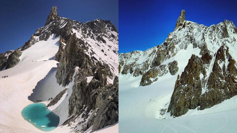 Monte Bianco, il ghiacciaio si scioglie e spunta un lago