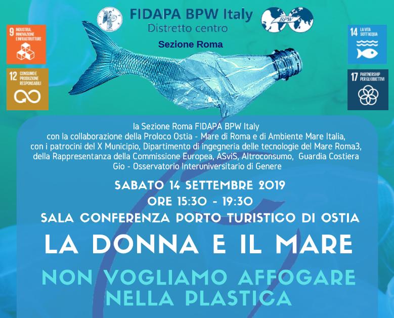 """""""La Donna e il mare – non vogliamo affogare nella plastica"""", un convegno a tutela dell'ambiente. PROGRAMMA"""