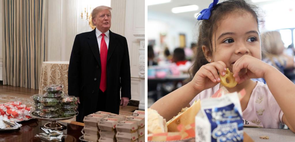 Meno verdura, più hamburger a scuola: Trump cancella il menù salute voluto dagli Obama