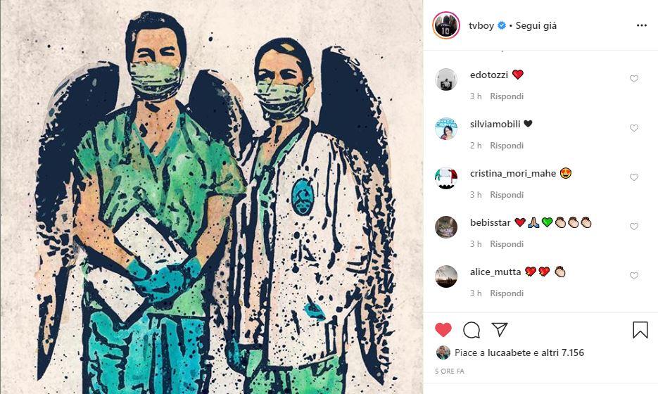 """Coronavirus, la nuova opera di Tvboy dedicata ai """"nostri angeli guardiani"""""""