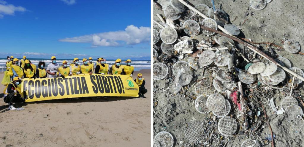 """Ecogiustizia subito! Il flash mob di Legambiente: """"Chi ha sversato quei dischetti in mare deve pagare"""""""