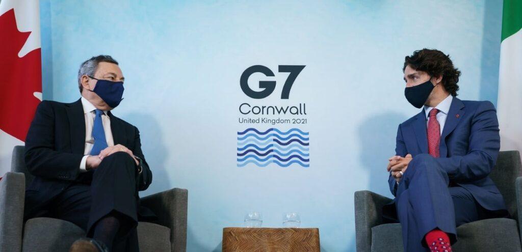 """G7, Draghi a Trudeau: """"è importante raggiungere un accordo ambizioso sul clima"""""""