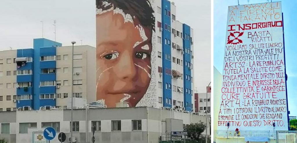 Ex Ilva, su un palazzo di Taranto il murales del ragazzo morto di tumore