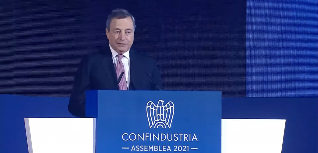 """Draghi: """"La transizione ecologica è necessaria, lo Stato aiuterà cittadini e imprese"""""""